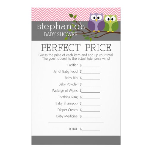Perfect Price - Shower Games Pink Cute Owls Girl Flyer Design