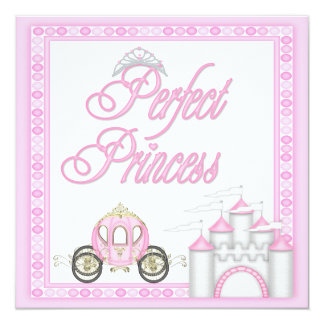 Perfect Princess Baby Shower Coach and Castle 13 Cm X 13 Cm Square Invitation Card