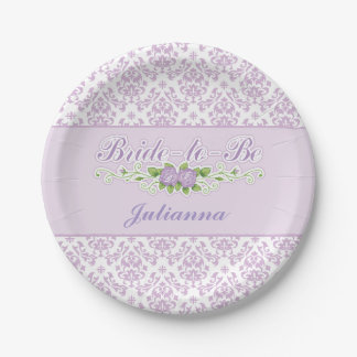 Perfect Purple, Damask Pattern Bridal Shower 7 Inch Paper Plate