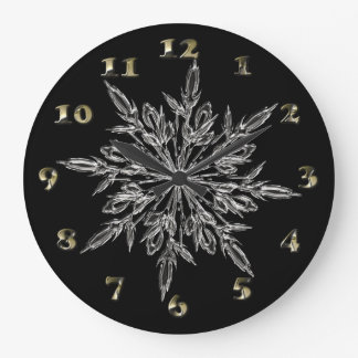 Perfect Snowflake for the Christmas Holiday Large Clock
