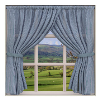 Perfect View: Fake Window onto Valley and Hills Poster