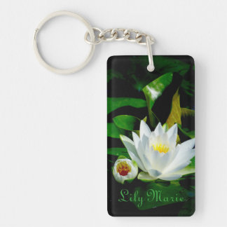 Perfect White Water Lily and Bud Double-Sided Rectangular Acrylic Key Ring