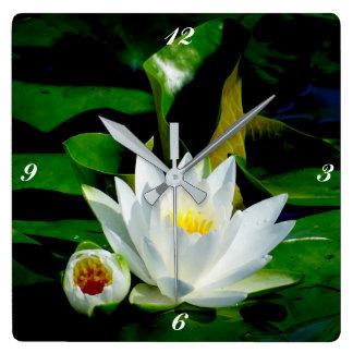 Perfect White Water Lily and Bud Wallclocks