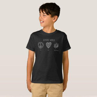 Perfect World: Peace, Love, Homeschooling Kid T-Shirt