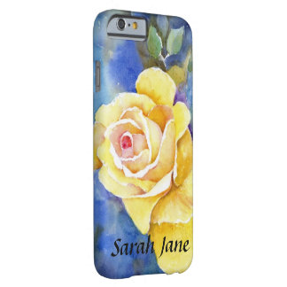 Perfect Yellow Rose on Blue in Watercolor Barely There iPhone 6 Case