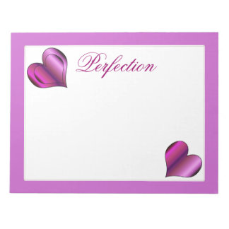 Perfection Love Hearts Notepad