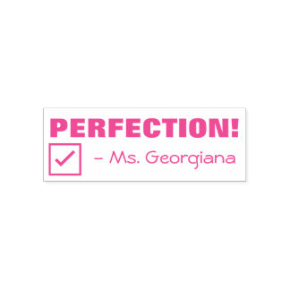 """""""PERFECTION!"""" Teacher Rubber Stamp"""