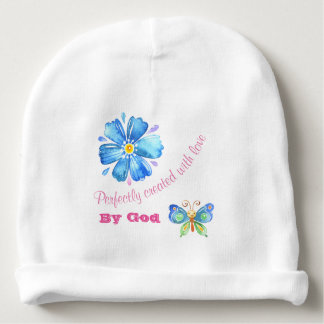 Perfectly Created With Love By God Baby Beanie