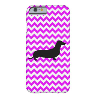 Perfectly Pink Chevron With Dachshund Barely There iPhone 6 Case