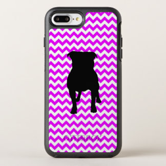 Perfectly Pink Chevron With Pug Silhouette OtterBox Symmetry iPhone 8 Plus/7 Plus Case