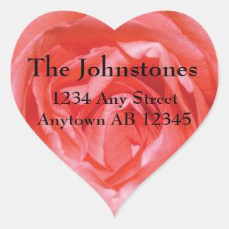Perfectly Pink Rose Wedding Return Address Heart Sticker