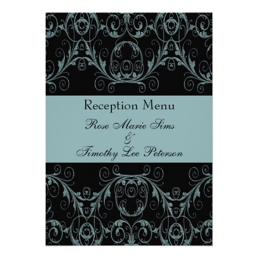Perfectly Vintage Alluring Blue Wedding Menu 5x7 Personalized Invites