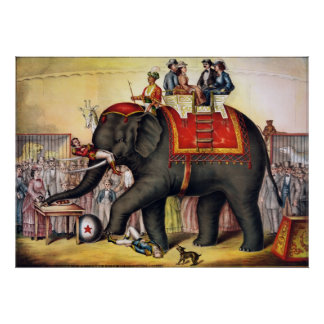 Performing elephant poster