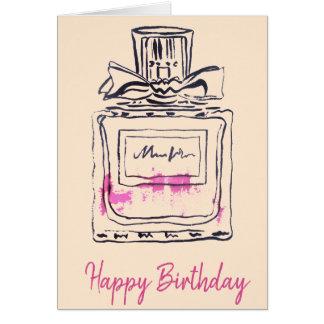 Perfume bottle fashion watercolour birthday card