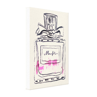Perfume bottle fashion watercolour illustration canvas print