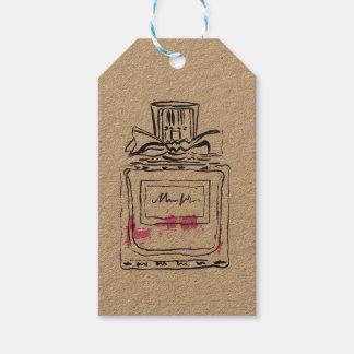 Perfume bottle fashion watercolour illustration gift tags