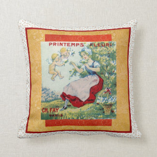 Perfume Label Spring Flowers Vintage Cushions