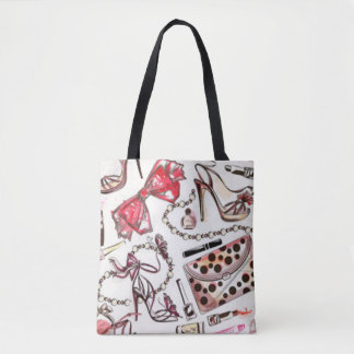 Perfume Lipstick Wallet Shoe Necklace Cosmetic Tote Bag