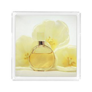 Perfume & Soft Yellow Flowers Acrylic Tray