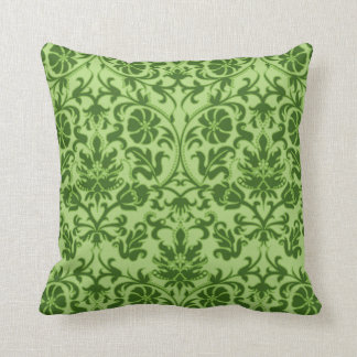 Peridot Green Floral Damask Throw Pillow