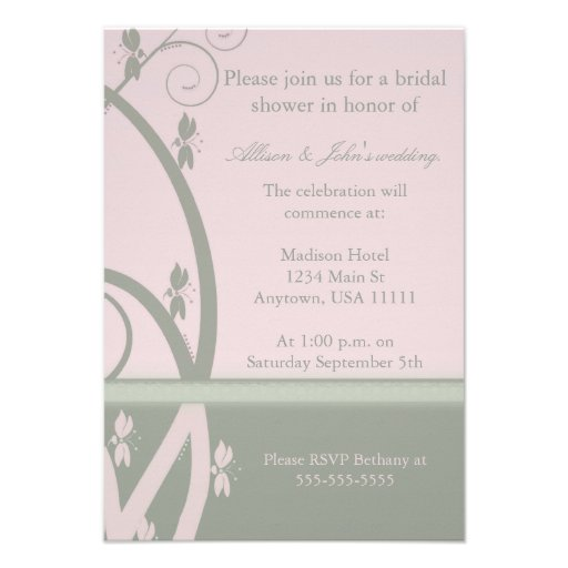 Peridot Pink Floral Vine Bridal Shower Invitation