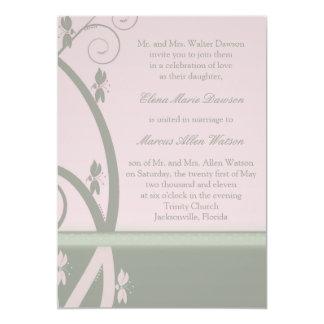 "Peridot Pink Floral Vine Wedding Invitation 5"" X 7"" Invitation Card"