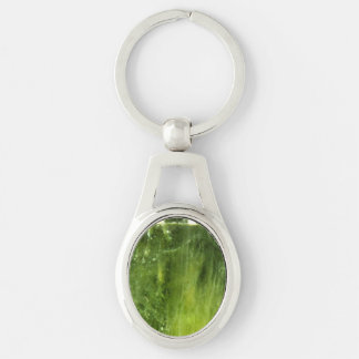 Peridot Silver-Colored Oval Key Ring