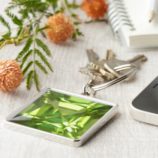 Peridot Silver-Colored Square Key Ring