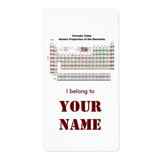 Periodic Table bookplate sticker