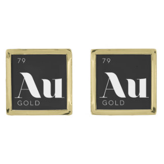 Periodic Table Elements Cuff Links // Gold
