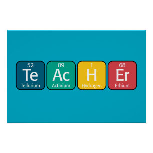 Periodic table posters prints zazzle periodic table elements spelling teacher poster urtaz Image collections