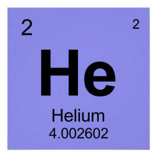 Periodic Table of Elements Helium Print