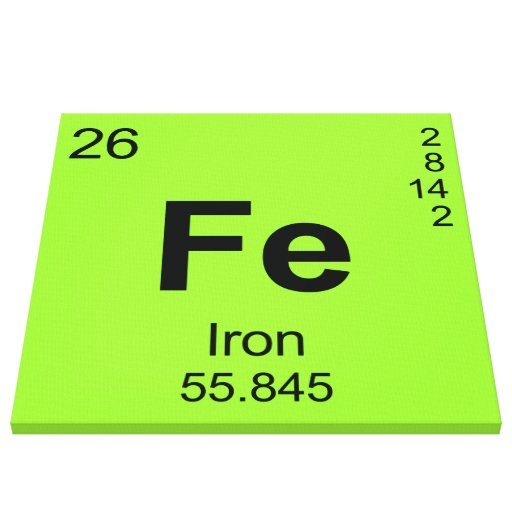 Periodic Table of Elements (Iron) Canvas Prints