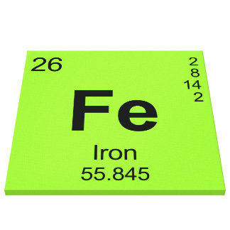 Periodic Table of Elements Iron Canvas Prints