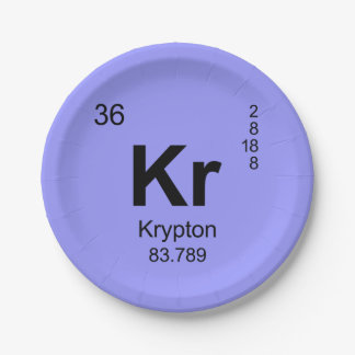Periodic Table of Elements (Krypton) Paper Plate
