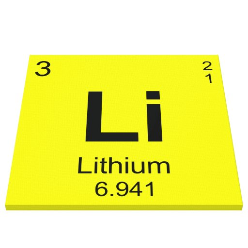 Periodic Table of Elements (Lithium) Stretched Canvas Print