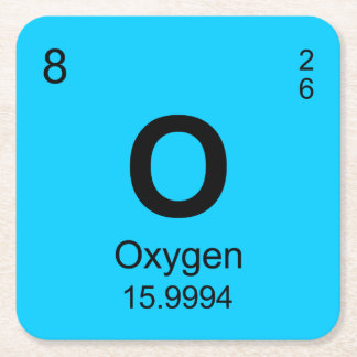 Periodic Table of Elements (Oxygen) Square Paper Coaster