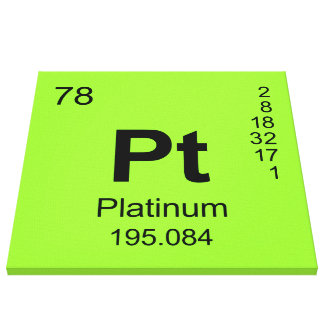 Periodic Table of Elements (Platinum) Stretched Canvas Print