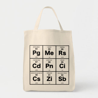 Periodic Table of Wines Grocery Tote Bag