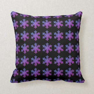 Periwinke Snow flakes Throw Pillow