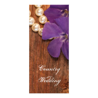 Periwinkle and Barn Wood Country Wedding Program Rack Card