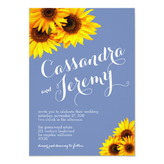 Periwinkle and Yellow Sunflowers Wedding Card