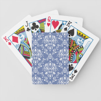 Periwinkle Blue and White Damask Bicycle Playing Cards