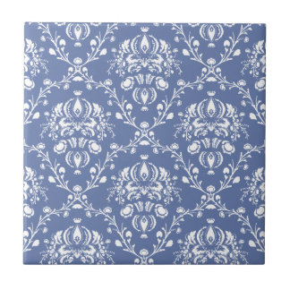 Periwinkle Blue and White Damask Ceramic Tile