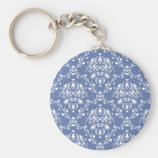 Periwinkle Blue and White Damask Key Ring
