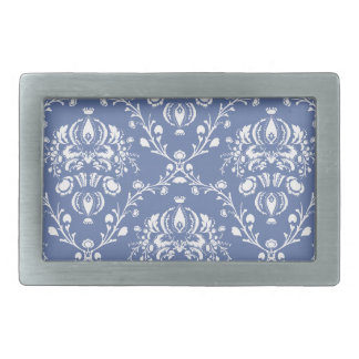 Periwinkle Blue and White Damask Rectangular Belt Buckles