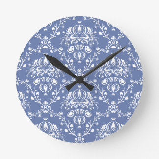 Periwinkle Blue and White Damask Round Clock