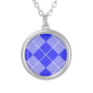 Periwinkle Blue Argyle Round Pendant Necklace