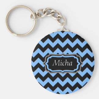 Periwinkle Blue & Black Chevron Monogram Key Ring
