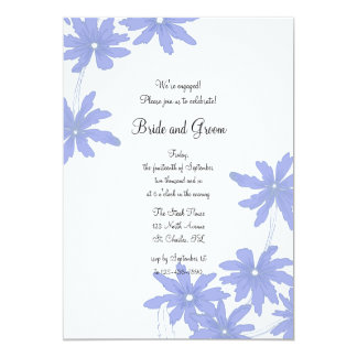 Periwinkle Blue Daisies Engagement Party Card
